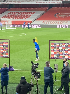 Photo: Balogun in attendance at Emirates Stadium as Arsenal lose to Everton amid protest by fans