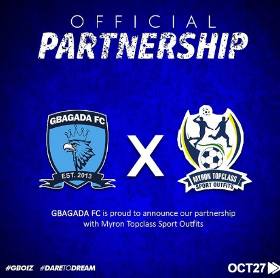 Gbagada Football Club Partner Myron Topclass Sport Outfits