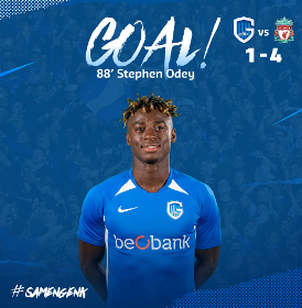 Genk's Odey Reacts To Scoring Against Liverpool In Champions League