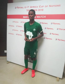 Photo : Golden Eaglets Captain Tijani Scoops CAF's Man Of The Match Award